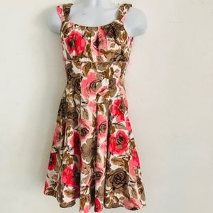 NWOT Maggie London A-line Dress Sz 4 Coral Floral